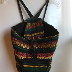 ETHNIC PRINT CLOTH BACKPACK